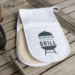 Personalised 'King Of The Grill' Oven Gloves - kitchen