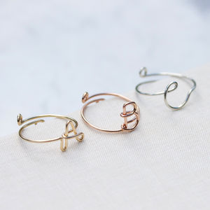 Initial Delicate Personalised Letter Ring - gifts for friends