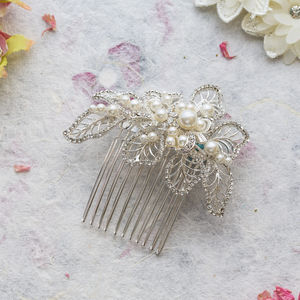 Mia Crystal And Pearl Hair Comb - wedding jewellery