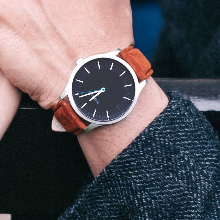 Blue Dialmaster Watch With Suede Strap