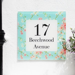 Personalised House Number Sign, Floral Cherry Blossom