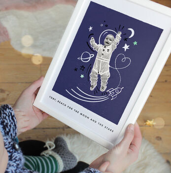 Personalised Baby Photo Astronaut Print, Unframed