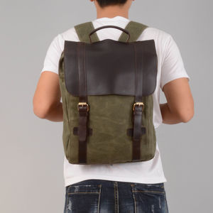 Personalised Waxed Canvas And Leather Backpack - personalised gifts