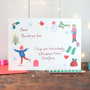 Six Christmas Thank You Postcards For Children - cards