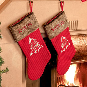 Set Of Two Personalised Nordic Christmas Stockings - stockings & sacks