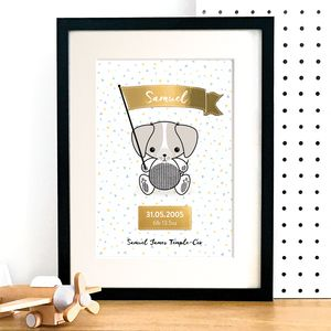 Personalised Puppy New Baby Art Print With Gold Foil