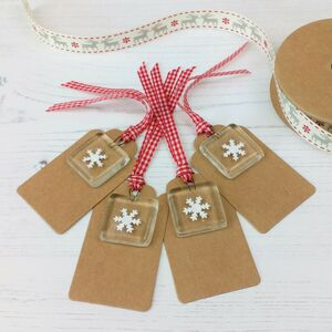 Pack Of Four Handmade Glass Snowflake Gift Tags
