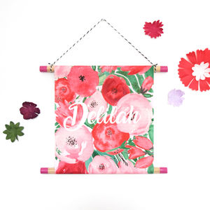 Flower Watercolour Name Hanging Print