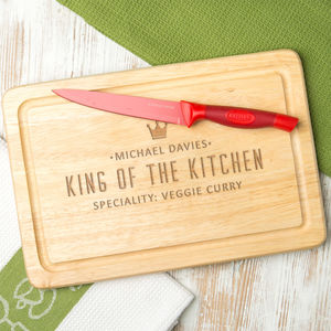 Personalised 'King Of The Kitchen' Wood Chopping Board - winter sale