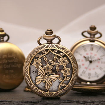 Personalised Bronze Pocket Watch Butterfly Design