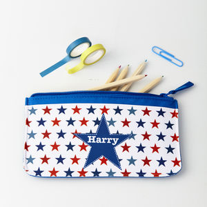 Boys Personalised Stars Pencil Case