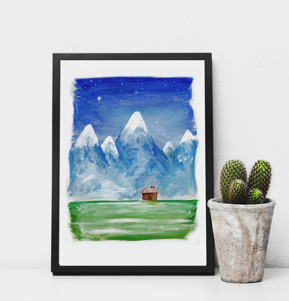 Cabin In The Mountains Print