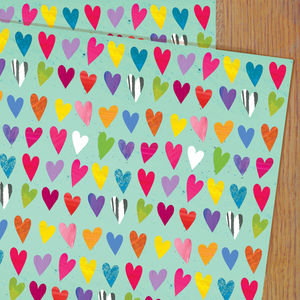 Coloured Hearts Gift Wrap - wrapping paper