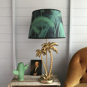 Palm Tree Lamp In Antique Gold - dining room