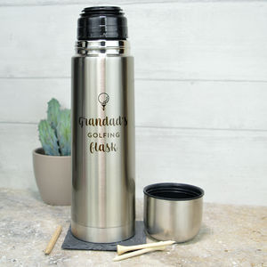 Personalised Stainless Steel Flask For Golfer - what's new