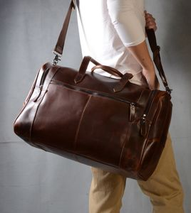 Eazo Vintage Look Leather Weekend Bag Business Gifting - holdalls & weekend bags