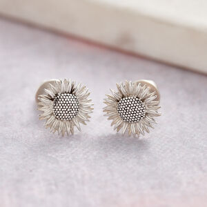 Sunflower Silver Stud Earrings