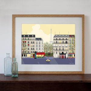 Paris Street Scene At Dawn Or Dusk Art Print - pictures & prints for children