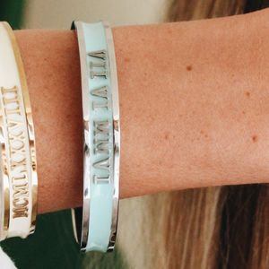 Personalised Birthday Bangle Mint And Silver