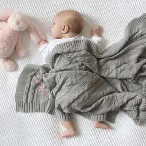Personalised Cable Knit Blanket Grey - baby's room