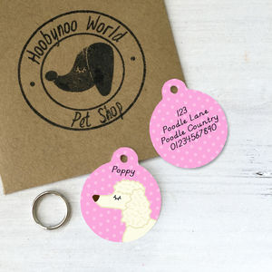 Poodle Personalised Dog Name ID Tag - dogs