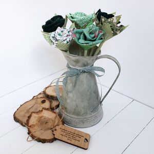 55th Emerald Anniversary Flowers In Zinc Jug And Tag - home accessories