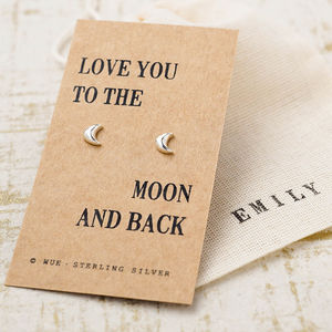 'Moon And Back' Silver Earrings - view all last-minute valentine's gifts