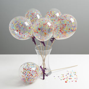Set Of Six Rainbow Mini Balloon Wands - balloons