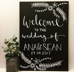 Personalised Welcome Wedding Floral Chalkboard - outdoor decorations