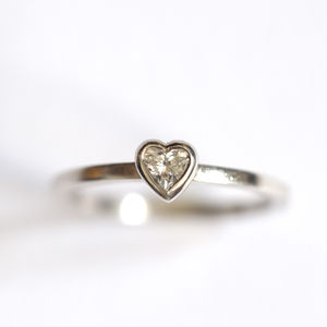 Diamond Heart Ring Handmade Sterling Silver