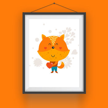 Cartoon Fox With Love Heart Animal Print