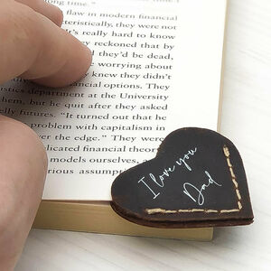 Personalised Heart Shaped Leather Bookmark