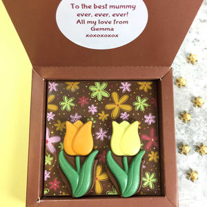 Personalised Message Milk Chocolate With Tulips - easter chocolate