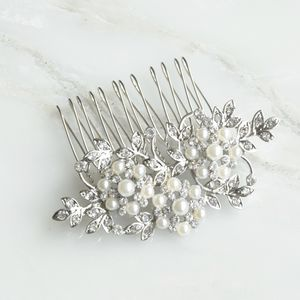 Floral Inspired Pearl And Crystal Hair Comb