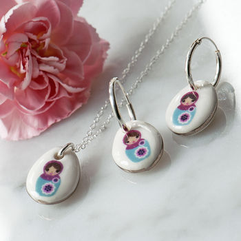 Porcelain Russian Doll Necklace And Earring Set