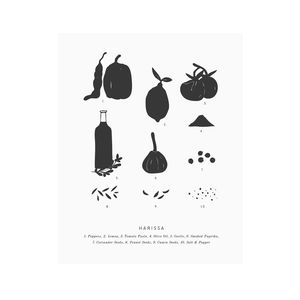 8x10 Letterpress Harissa Art Print - food & drink prints
