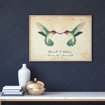Personalised 'Vintage Hummingbird Love' Couples Print
