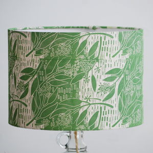 Eucalyptus Lampshade Block Printed By Hand - greenery