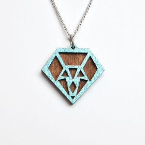 Contemporary Geometric Diamond Pendant Necklace D8