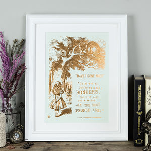 Alice In Wonderland 'Bonkers' Metallic Foil Print - nursery pictures & prints