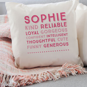 Personalised Traits Cushion - baby's room