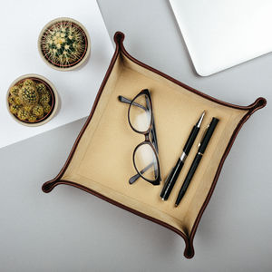 Italian Leather Desk Tidy / Coin Tray. 'The Ilario' - storage & organisers