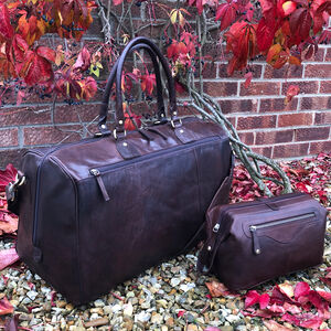 Luxury Buffalo Leather Holdall And Wash Bag Travel Set