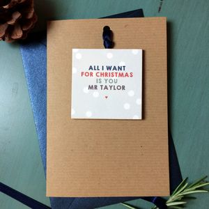 Personalised 'All I Want For Christmas' Keepsake Card - cards