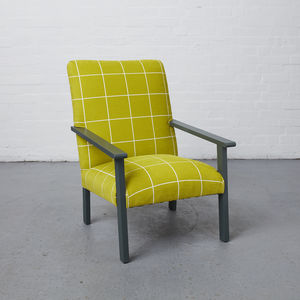 1970s Lounge Chair In Geometric Print - armchairs
