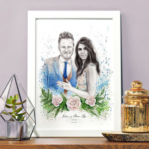 Personalised Illustrated Watercolour Wedding Portrait - new in prints & art