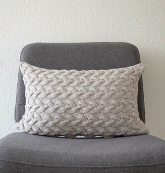 Hand Knit Lattice Cable Cushion In Grey