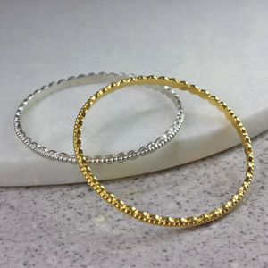 Scalloped Bangle With Dotted Detail