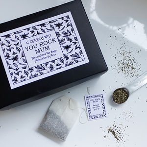 You Rock Mum, 12 Mother's Day Personalised Tea Bags