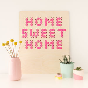 'Home Sweet Home' Cross Stitch Board Wall Art - mixed media & collage